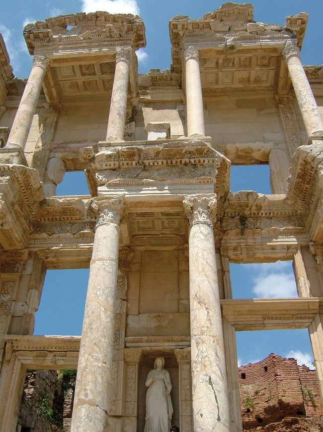 The grand Library of Celsus in the ancient Greek city of Ephesus.