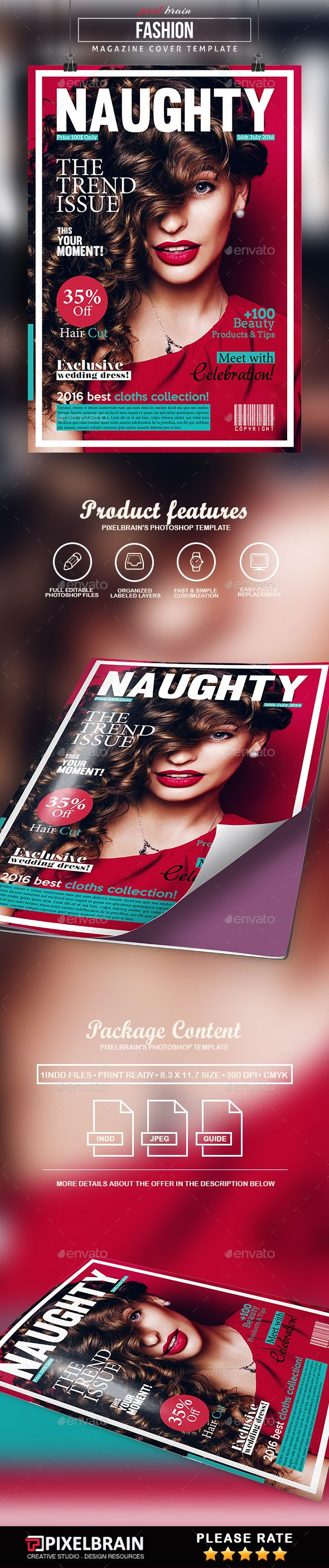 Fashion Magazine Cover Template - Magazines Print Templates Download here : https://graphicriver.net/item/fashion-magazine-cover-template/18301468?s_rank=85&ref=Al-fatih