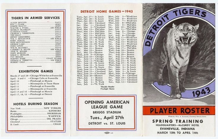 1943 Detroit Tigers spring training roster booklet, with a list of players serving in the armed services.