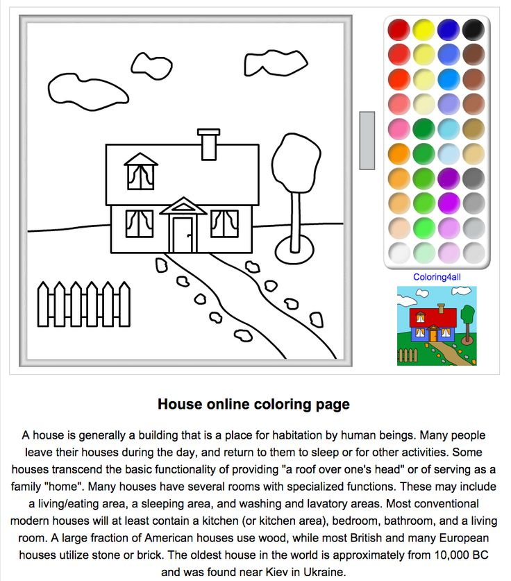 A House of Her Own: Colour a House Online http://www.coloring4all.com/coloring/house_coloring_pages.htm