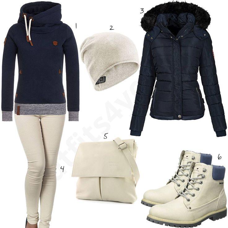 Damen-Outfit in Creme und Dunkelblau (w0663)