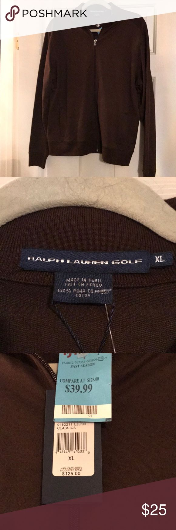 NWT Ralph Lauren Golf Zip Up. New with Tags Ralph Lauren chocolate brown zip up. Size XL. Polo collar. 100% Pima cotton. Ralph Lauren Jackets & Coats