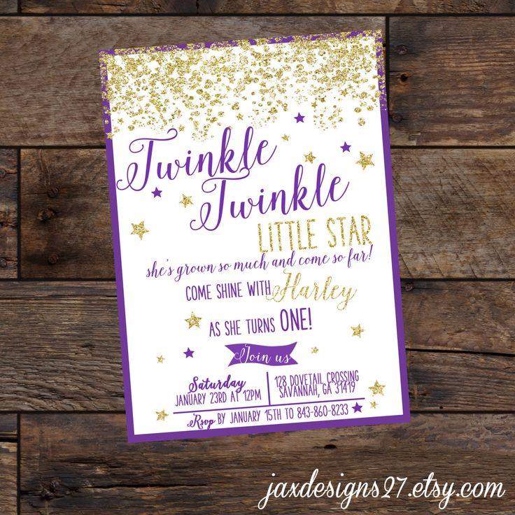 Digital Birthday Invitation, Twinkle Twinkle Little Star, Pink Birthday Invitation, Glitter Birthday Invitation, Purple and Gold Birthday