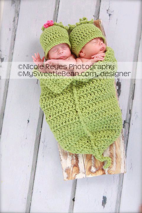 Twins Sweet Pea Photo Prop Twins Pea Pod And Hats By
