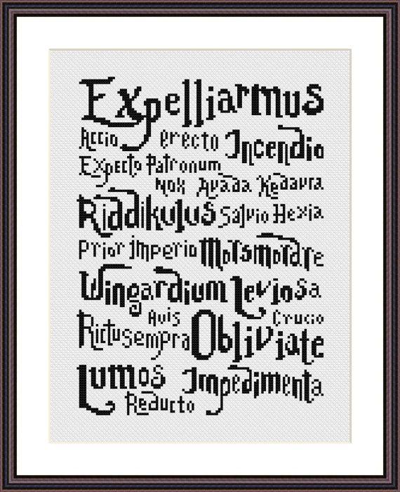 Cross stitch pattern PDF Harry Potter Spells by CrossStitchForYou