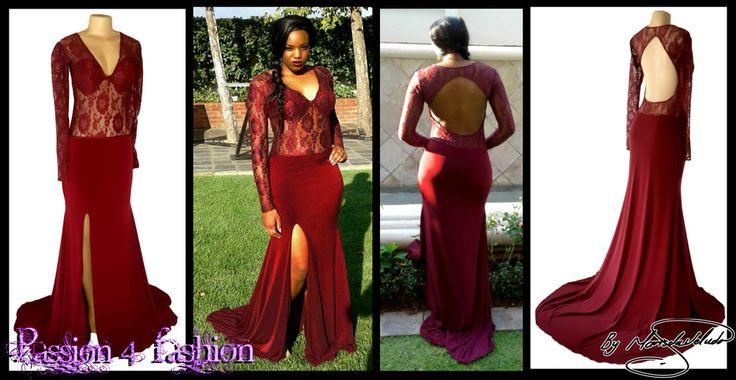 Maroon sheer lace matric dance dress.With bodice in sheer lace. Long sheer sleeves. Tear drop open back, flowy bottom with a slit and a train