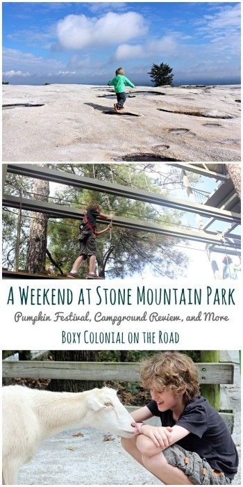 Family weekend trip to Stone Mountain Park near Atlanta. Pumpkin festvial, skyride, skywalk, antebellum plantation, and campground review
