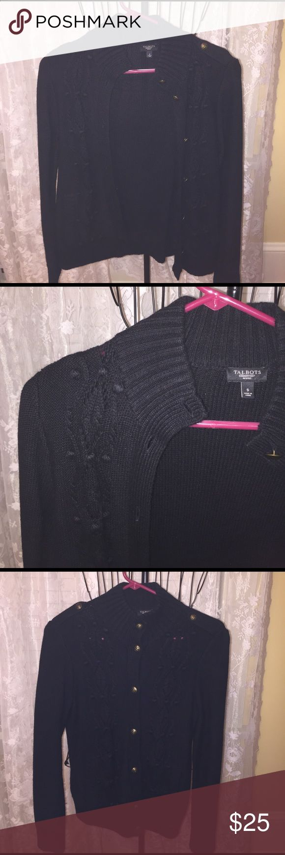 Talbots women's Black petite sweater Beautiful black button up sweater with brass ton buttons. Excellent condition. 33% Viscose, 25% Nylon 18% lambswool and 18% cotton 4% cashmere Handwashable Talbots Sweaters Cardigans