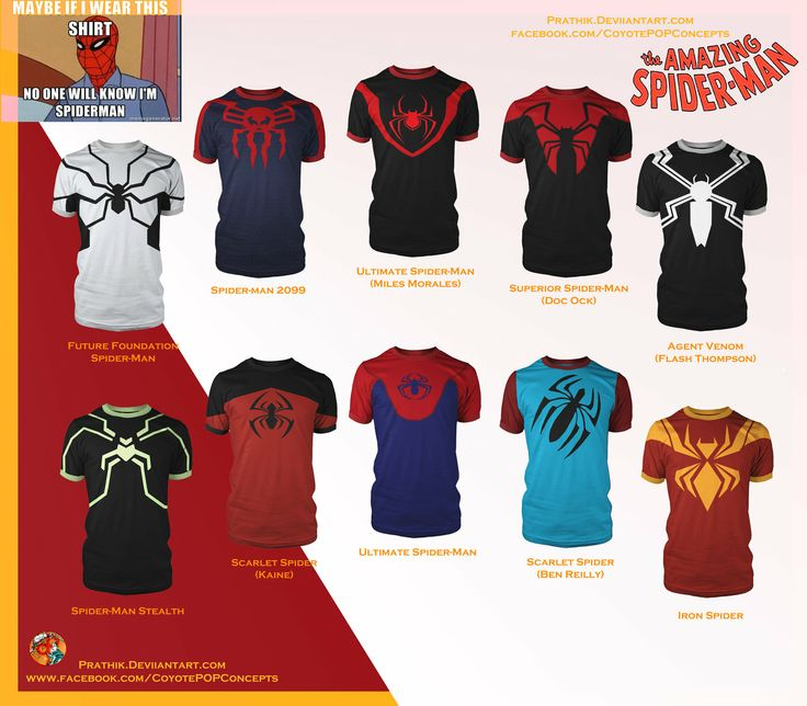 Spider-Man Shirts! by prathik.deviantart.com on @deviantART Still just concepst, but totally awesome!