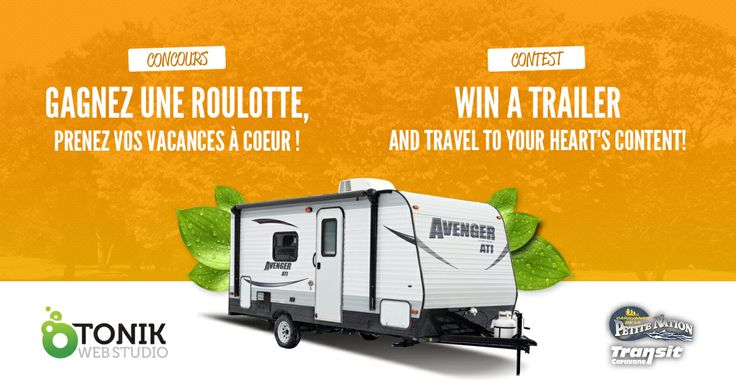 Facebook Contest for Caravanes de la Petite-Nation Win a travel trailer worth $16,000. Participate every day to increase your chance of winning and share with your friends. https://apps.facebook.com/637397253004284  Contest open to Canada.  #contest #canada #facebookcontest #contestcanada