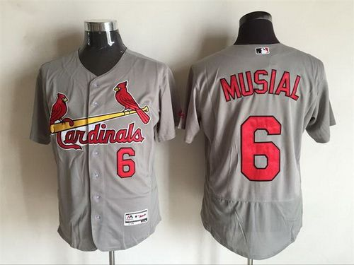 017f022a5ea ... Authentic Stitched MLB Jersey. Soccer JerseysSt Mens St. Louis Cardinals  6 Stan Musial Retired Gray Road 2016 Flexbase Majestic Baseball ...
