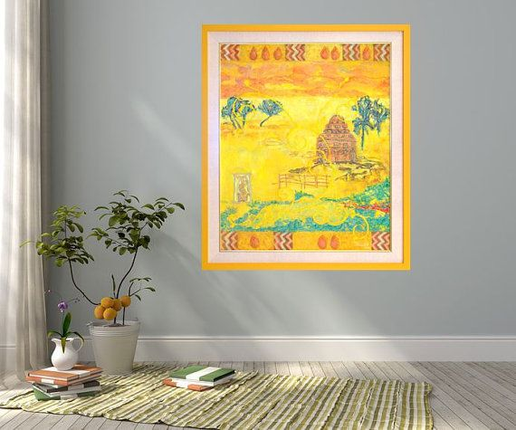 Large abstract print yellow green giclee print by MarilionFineArt