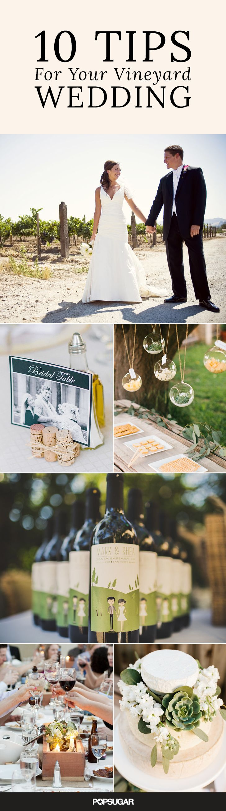 If you think a vineyard wedding sounds like nuptial bliss, you're not alone! Wine-country weddings are a growing trend, and it's not difficult to understand why: they're the perfect balance of rustic and romantic. Here are the top 10 tips for your dream vineyard wedding.