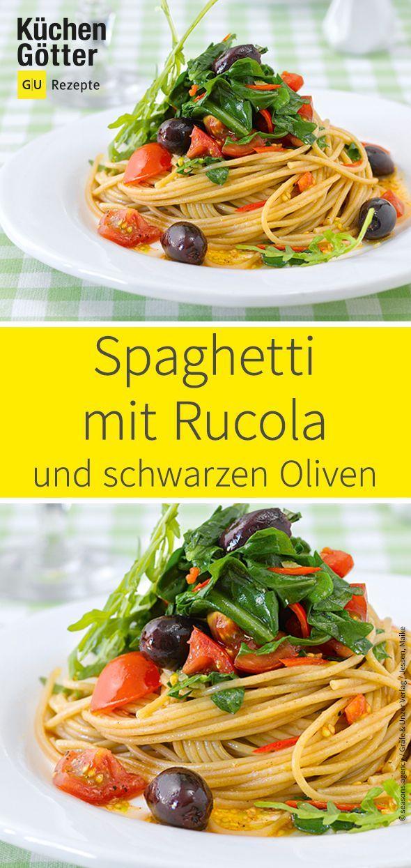 Spaghetti with rocket and black olives   – Leckere Rezepte zum Kochen und Backen