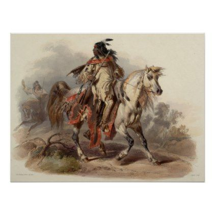 Native Man on Horse Painting 60.96cm x 60.96cm Poster  $20.80  by universalstore4all  - cyo customize personalize diy idea