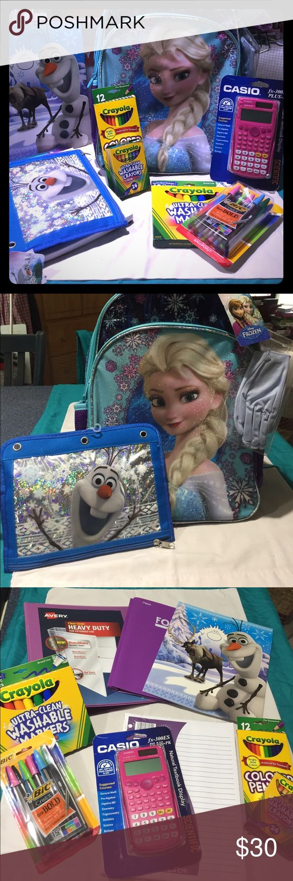 """Huge Back to school bundle!! Backpack and supplies Back to school Frozen Bundle includes the following items ALL NWT: one Elsa padded backpack with two zippered compartments and two holders for water bottles, one heavy duty 1.5"""" 3-ring binder, two 2-pocket folders, one pack of wide-ruled loose leaf paper, one zippered Olaf pencil case, colored pencils pack, markers pack, crayons pack (all crayola), one pink Casio scientific calculator and one pack of bic multicolored pens!! Huge…"""