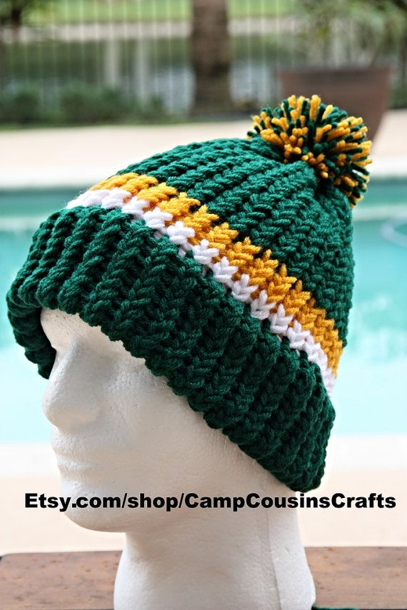 GREEN BAY PACKERS knit hat capbeaniewinter by CampCousinsCrafts