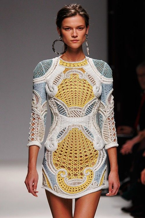 wgsn:    Yellow accents from Balmain's SS13 collection at #pfw today