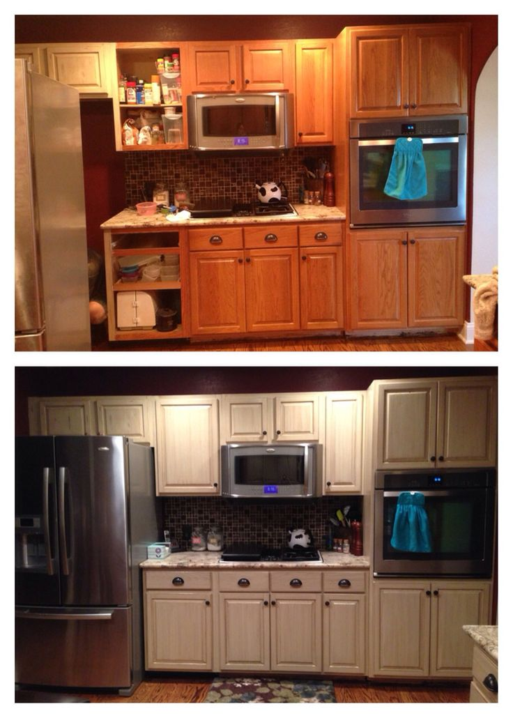 Cabinet refinish using general finishes linen milk paint for White milk paint kitchen cabinets