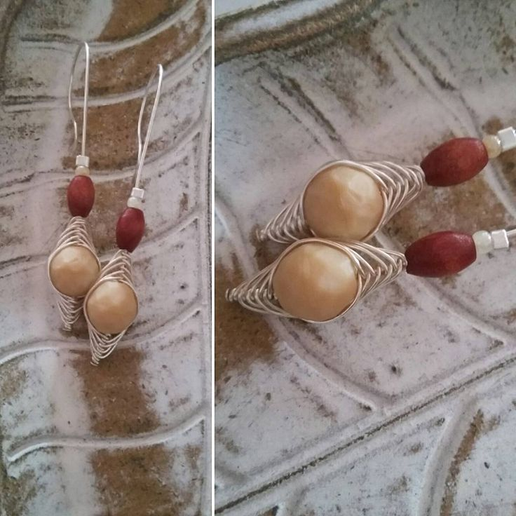 #earthytones with #wood and #ceramic beads. #silver #earrings on the hook