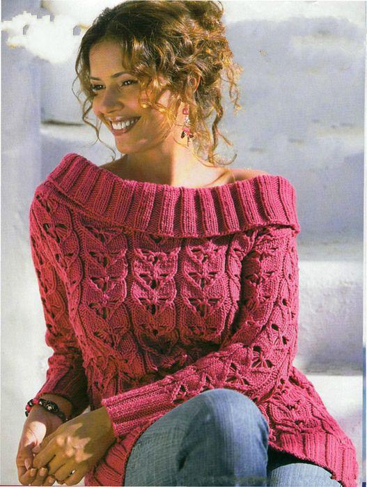 Вязаный пуловер с воротником кармен. Обсуждение на LiveInternet - Российский Сервис Онлайн-Дневников