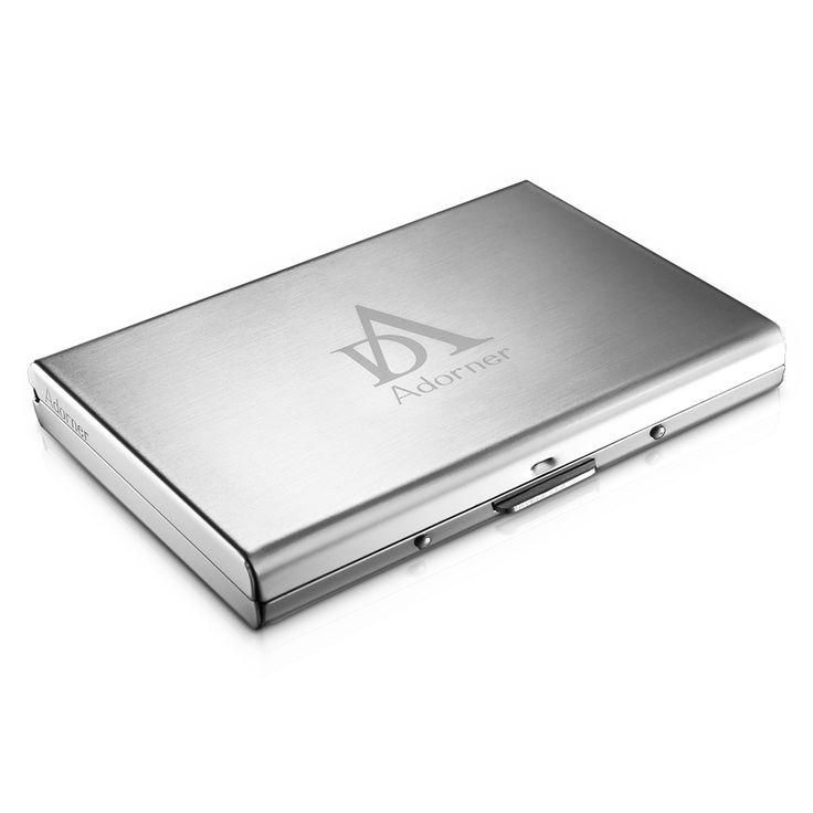 Coutlet Upgraded Version Rfid Blocking Stainless Steel Wallet Credit Card Holder (Adorner Rfid Credit Card Holder), Silver