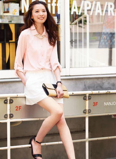 【着まわしday5】ピンクとろみシャツ×リネンショートパンツ | ファッション コーディネート | with online on ウーマンエキサイト