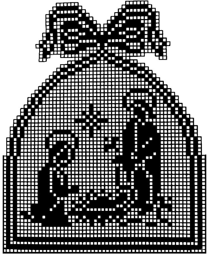 filet crochet patterns - gehaakt kersttafereel