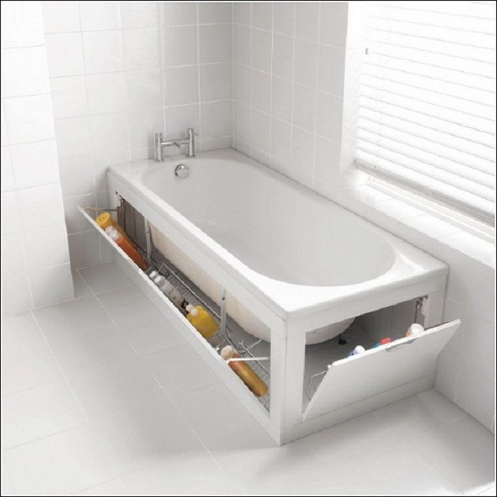 Интересные варианты оформления ванной комнаты, которые позволят максимально скрыть нужные вещицы для жизни.