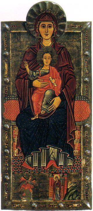 Madonna di casale, 1250 - La Madonna di Casale (numero di inventario del 1890 9494) è un dipinto a tempera su tavola e fondo argento (180x78 cm) attribuito al Maestro di Greve, databile alla prima metà del XIII secolo, forse al 1210-1215 circa e conservato nella Galleria degli Uffizi a Firenze.  Indice