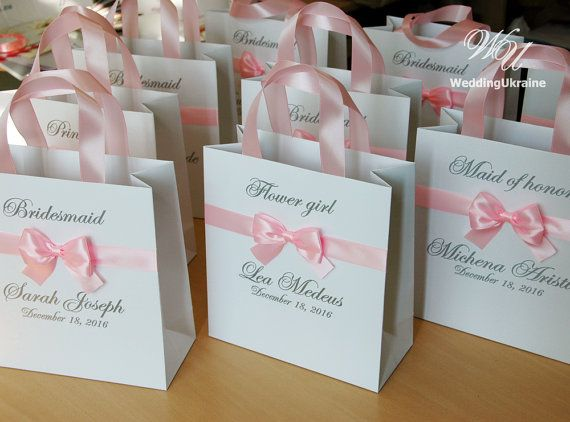 Custom Personalized Bridesmaids Gift Bags Bridal Party Bag With Name Maid Of Honour Satin Bow And
