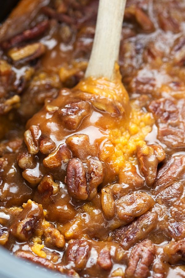 Crockpot Sweet Potato Casserole 2 (29 oz each) canned sweet potatoes 1/4 cup butter, softened 2 Tbl white sugar Pinch of salt 2 and 1/2 Tbl brown sugar 1 Tbl orange juice 2 large eggs 1-2 tsp vanilla  1/2 cup milk Topping 3/4 cup pecan chips 2/3 cup brown sugar, lightly packed 1/4 cup flour 1 tsp vanilla  1/4 cup butter