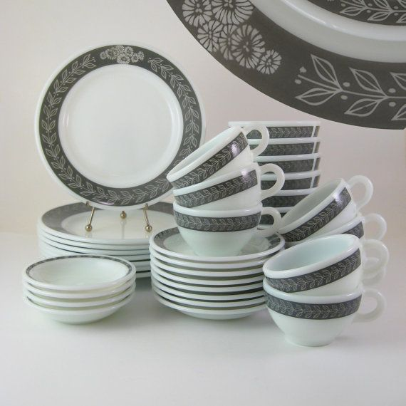 1950s Dishes: Pyrex Corning Autumn Bands Gray, Mid-Century Dishes, 1950