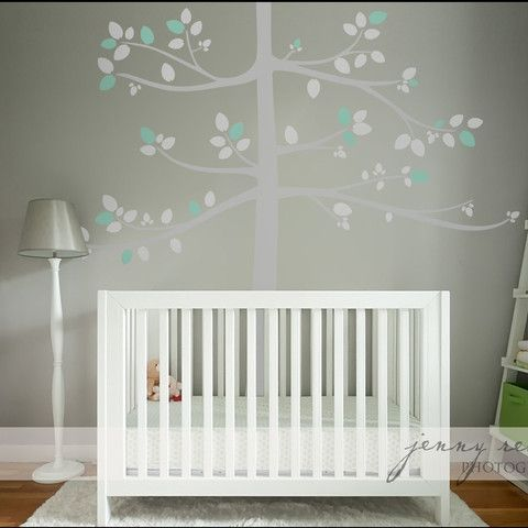 Wall decal stickers uk transfer for baby room, mint and grey tall tree transfer