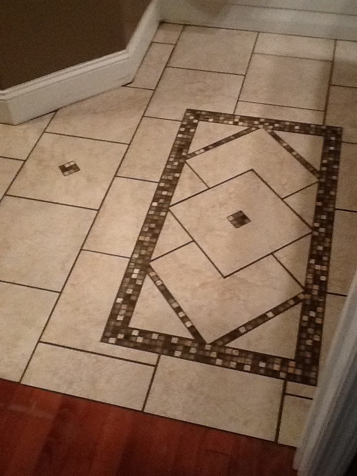 Love My New Bathroom Floor Inlaid Tile Rug Design