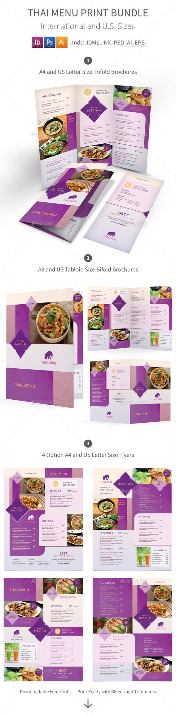 Thai Restaurant Menu Design Print Bundle 3 - Food Menu Template PSD, InDesign INDD, Vector EPS, Vector AI. Download here: http://graphicriver.net/item/thai-restaurant-menu-print-bundle-3/16490561?s_rank=244&ref=yinkira