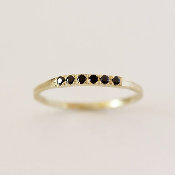 Pave Black Diamond Ring  Thin Diamond Band  14K Solid by artemer, $380.00