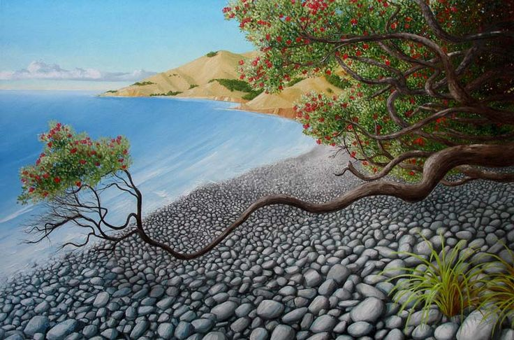 A stony beach New Zealand landscape where a Pohutukawa tree reaches out a low slung branch toward the sea