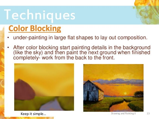 Under Painting In Large Flat Shapes To Lay Out Composition After