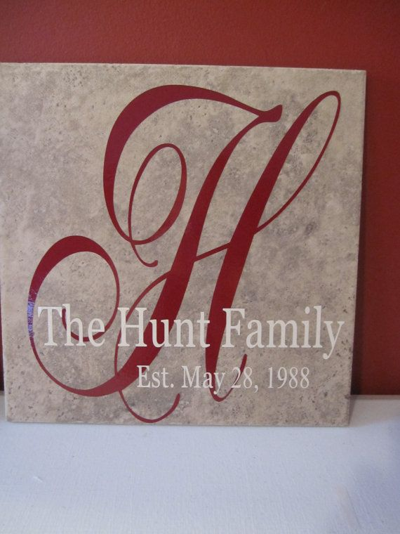 Family Name vinyl decal (tile not included) via Etsy