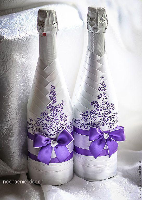 Купить Оформление 2-х бутылок шампанского на свадьбу с росписью - сиреневый, сиреневая свадьба
