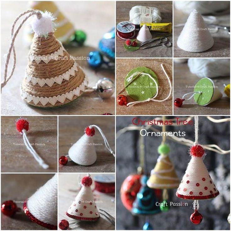 Creative Ideas - DIY Adorable Christmas Tree Ornaments with Yarn or Twine   iCreativeIdeas.com Follow Us on Facebook --> https://www.facebook.com/iCreativeIdeas