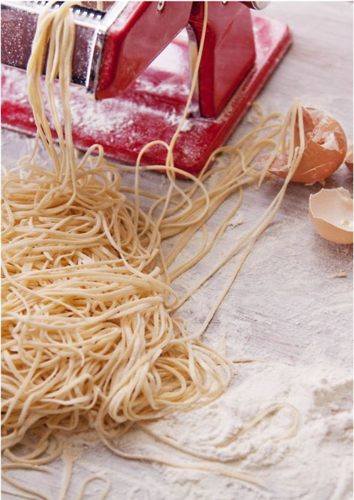 Lidia Bastianich's pasta recipe...   3 cups all-purpose flour  3 large eggs, lightly beaten  ¼ cup extra-virgin olive oil  7Tbs very cold water, plus more as needed