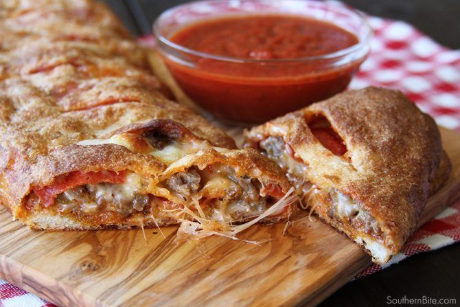 Easy Stromboli ~ 1 can Pillsbury Thin Pizza Dough, 1 jar your favorite spaghetti sauce, pepperoni, cooked & crumbled Italian sausage, mozzarella cheese, maybe a few veggies (more veggies increases bake time & can make it a little soggy).
