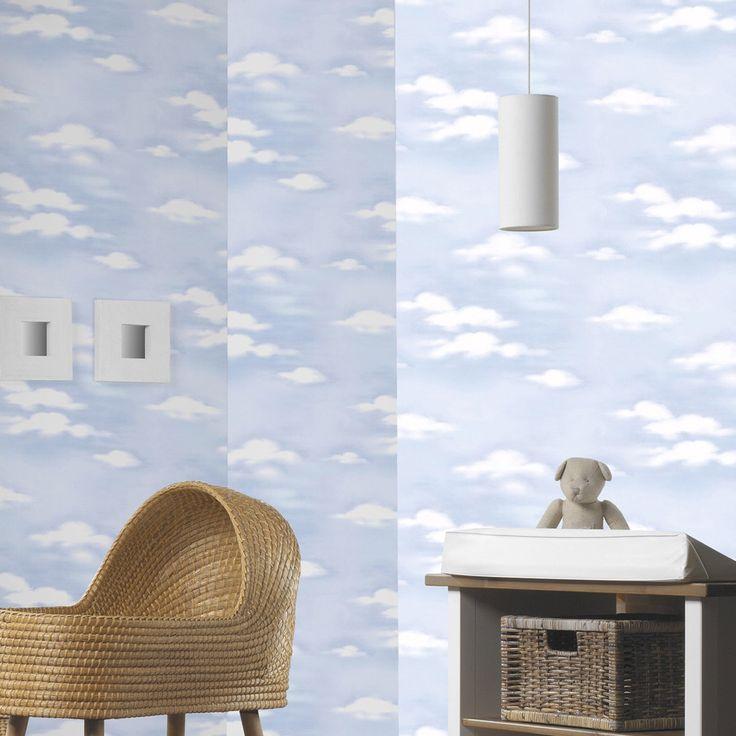 papier peint sur papier nuages bleu larg 053 m leroy merlin - Armoire Bebe Winnie Lourson
