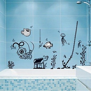 Wall Stickers Wall Decals, Marine Animal Bathroom Decor Mural PVC Wall Stickers – CAD $ 20.84