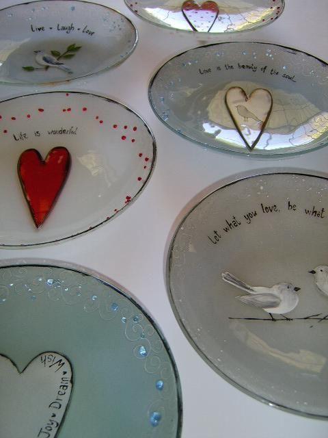 M Beneke fused glass heart plates