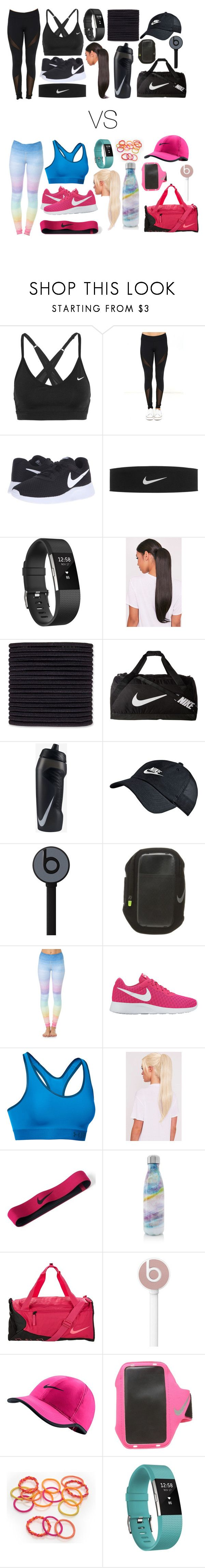 """""""two kinds of people at the gym"""" by gatelyhawkins ❤ liked on Polyvore featuring NIKE, Dance & Marvel, Fitbit, scunci, Beats by Dr. Dre, Flexi Lexi, Under Armour and S'well"""