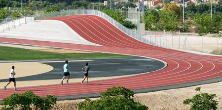 running track with an incline. this beats running up and down the bleachers.