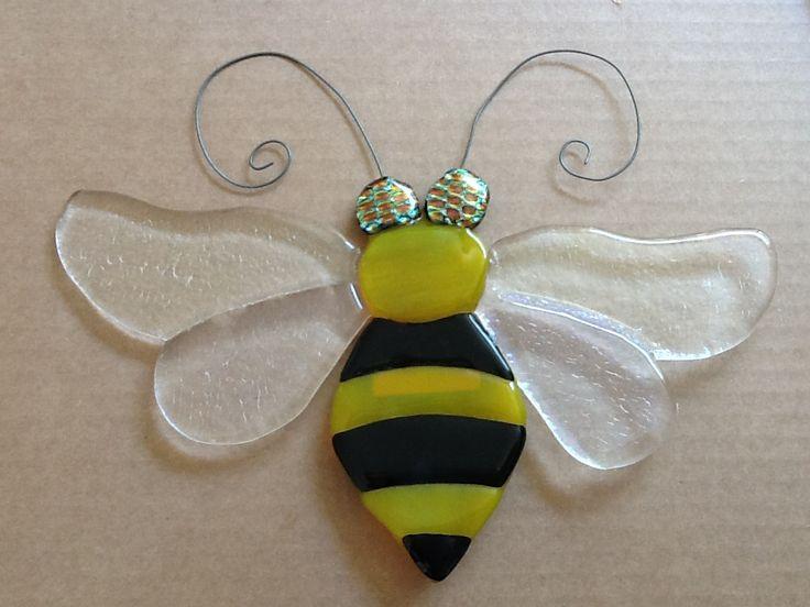 Fused glass  Bumble bee yard art